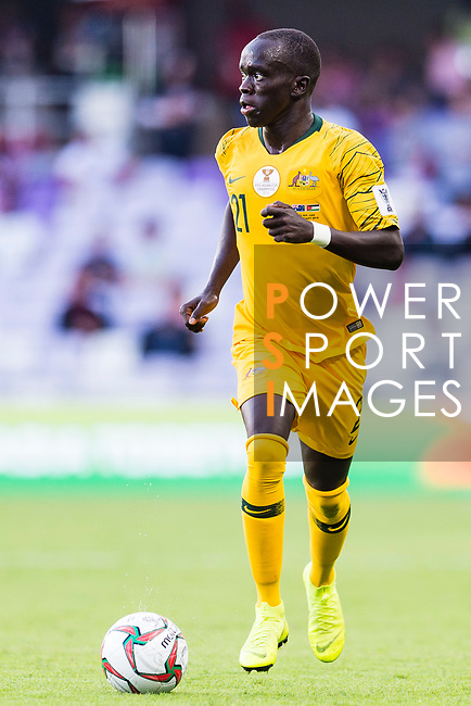 Awer Mabil of Australia in action during the AFC Asian Cup UAE 2019 Group B match between Australia (AUS) and Jordan (JOR) at Hazza Bin Zayed Stadium on 06 January 2019 in Al Ain, United Arab Emirates. Photo by Marcio Rodrigo Machado / Power Sport Images