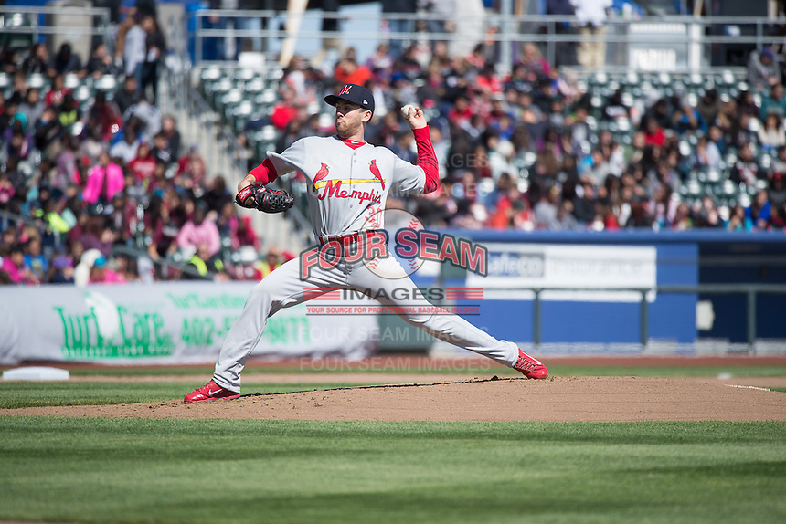 Tim Cooney (30) of the Memphis Redbirds delivers a pitch to the plate against the Omaha Storm Chasers in Pacific Coast League action at Werner Park on April 22, 2015 in Papillion, Nebraska.  (Stephen Smith/Four Seam Images)