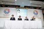 (L-R) Yoshikazu Tanaka, Manabu Miyasaka, Tsunekazu Takeda, Saori Yoshida, DECEMBER 21, 2012 : a press conference about Tokyo 2020 Official Bid Partners and New national promotion in Tokyo, Japan. (Photo by AFLO SPORT) [1156]