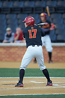 Frankie Rios (17) of the USC Trojans at bat against the Wake Forest Demon Deacons at David F. Couch Ballpark on February 24, 2017 in  Winston-Salem, North Carolina.  The Demon Deacons defeated the Trojans 15-5.  (Brian Westerholt/Four Seam Images)
