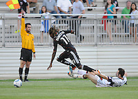 DC United forward Joseph Ngwenya (11) gets fouled by New England Revolution defender Ryan Cochrane (45)   The New England Revolution defeated DC United 3-2 in US Open Cup match , at the Maryland SoccerPlex, Tuesday  April 26, 2011.
