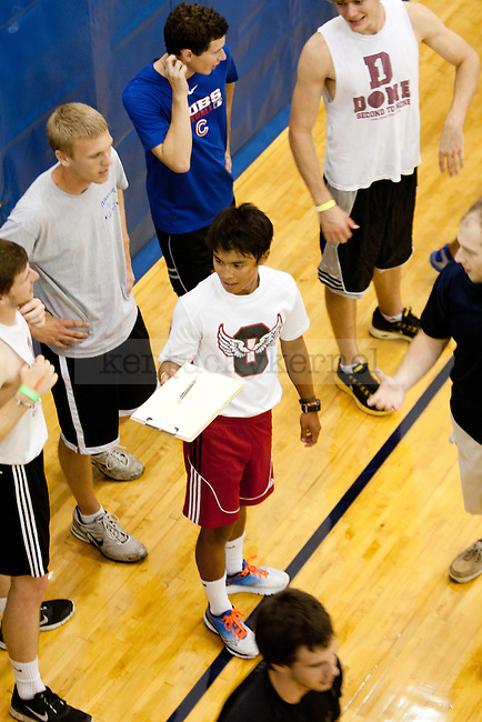 UK Students go over the rules before the Dodgeball games begin, which were hosted by the UK Club Dodgeball team during K Week  on August 23, 2013 at the Johnson Center on the University of Kentucky campus in Lexington, Ky.