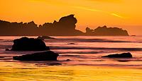 Sunset at Woodpacker Bay near Punakaiki with Seal Island in background, Paparoa National Park, West Coast, New Zealand