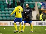 Hibs v St Johnstone...21.01.12.Lee Croft and Fran Sandaza all smiles at full time.Picture by Graeme Hart..Copyright Perthshire Picture Agency.Tel: 01738 623350  Mobile: 07990 594431