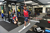 Swansea City's Jordan Ayew in the gym on his first day back for the new season.