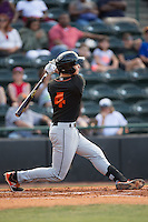 Ryan Mountcastle (4) of the Delmarva Shorebirds follows through on his swing against the Hickory Crawdads at L.P. Frans Stadium on June 18, 2016 in Hickory, North Carolina.  The Crawdads defeated the Shorebirds 1-0 in game one of a double-header.  (Brian Westerholt/Four Seam Images)