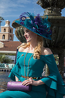 DEL MAR, CA - NOVEMBER 03: A woman came dressed to impress on Day 1 of the 2017 Breeders' Cup World Championships at Del Mar Thoroughbred Club on November 3, 2017 in Del Mar, California. (Photo by Jesse Caris/Eclipse Sportswire/Breeders Cup)