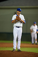 Bluefield Blue Jays relief pitcher Sean Rackoski (21) gets ready to deliver a pitch during a game against the Bristol Pirates on July 26, 2018 at Bowen Field in Bluefield, Virginia.  Bristol defeated Bluefield 7-6.  (Mike Janes/Four Seam Images)