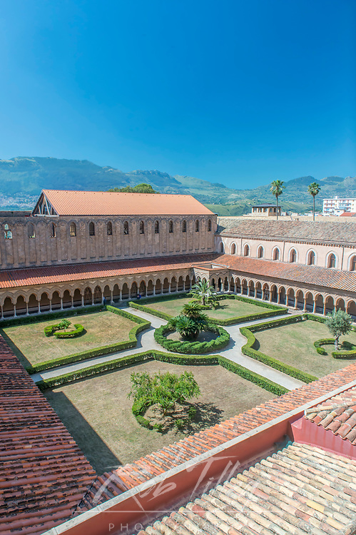 Europe, Italy, Sicily, Monteale, Monreale Cathedral, Looking down on the Cloister in the 12th Century in Arab Norman Style