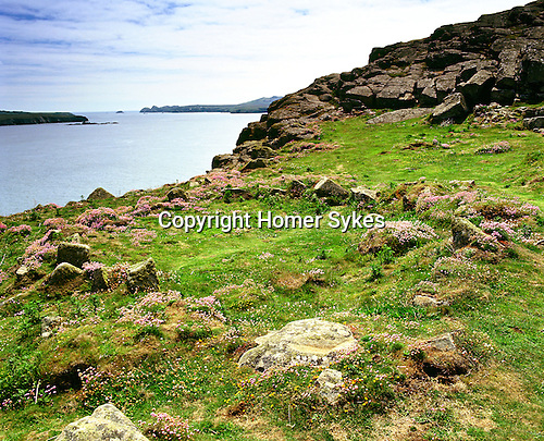 St Saint Davids Head, Coetan Arthur and Ramsey island. Ruined Hut Circle. St Davids Head Pembrokshire Wales. Uk. Celtic Britain published by Orion