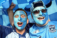 16/07/2006 .Dublin fans Stephen Whelan & Mick Dunphy both from Rathfarnam after the GAA  Leinster Final at Croke Park, Dublin..Photo: Collins..BLUE 2 DUB FANS IN SONG AFTER THEIR LEINSTER FINAL VICTORY @ CROKE PARK