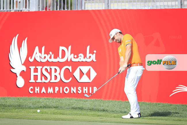 Andy Sullivan (ENG) on the 18th green during Round 3 of the Abu Dhabi HSBC Championship on Saturday 21st January 2017.<br /> Picture:  Thos Caffrey / Golffile<br /> <br /> All photo usage must carry mandatory copyright credit    ( &copy; Golffile | Thos Caffrey)