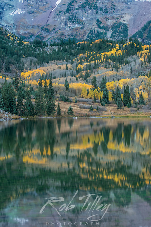 US, CO, White River NF, Autumn Color Reflected in Maroon Lake