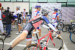 US National Champion Matthew Busche (USA) Trek Factory Racing at sign on for the start of the 2015 96th Milan-Turin 186km race starting at San Giuliano Milanese, Italy. 1st October 2015.<br /> Picture: Eoin Clarke | Newsfile