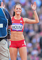 August 05, 2012: Georganne Moline of USA reacts after competing in round one of women's 400m hurdles at the Olympic Stadium on day nine of 2012 Olympic Games in London, United Kingdom.