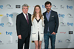 Manuela Velles, Enrique Cerezo and Raul Arevalo attend the photocall of the nominates reading of Jose Maria Forque Awards in Madrid, Spain. December 18, 2014. (ALTERPHOTOS/Carlos Dafonte)