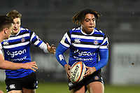 Max Ojomoh of Bath United in possession. Premiership Rugby Shield match, between Bath United and Gloucester United on April 8, 2019 at the Recreation Ground in Bath, England. Photo by: Patrick Khachfe / Onside Images