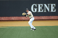 Wake Forest Demon Deacons left fielder Chris Lanzilli (24) catches a fly ball during the game against the Miami Hurricanes at David F. Couch Ballpark on May 11, 2019 in  Winston-Salem, North Carolina. The Hurricanes defeated the Demon Deacons 8-4. (Brian Westerholt/Four Seam Images)