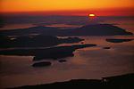 Sunset over the San Juan Islands, Vancouver Island on the horizon, Washington.