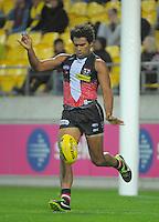 James Gwilt kicks during the Australian Rules Football ANZAC Day match between St Kilda Saints and Brisbane Lions at Westpac Stadium, Wellington, New Zealand on Friday, 25 April 2014. Photo: Dave Lintott / lintottphoto.co.nz