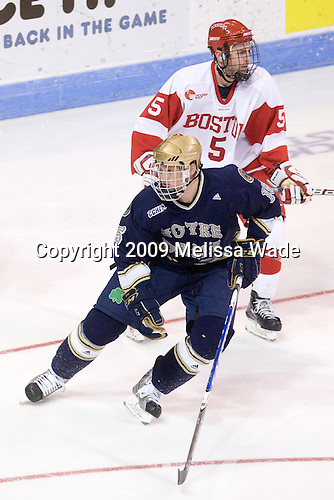 David Warsofsky (BU - 5), Christiaan Minella (Notre Dame - 15) - The University of Notre Dame Fighting Irish defeated the Boston University Terriers 3-0 on Tuesday, October 20, 2009, at Agganis Arena in Boston, Massachusetts.