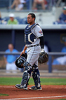 Lakeland Flying Tigers catcher Arvicent Perez (13) during a game against the Charlotte Stone Crabs on April 16, 2017 at Charlotte Sports Park in Port Charlotte, Florida.  Lakeland defeated Charlotte 4-2.  (Mike Janes/Four Seam Images)