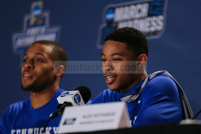 Guard Tyler UIis of the Kentucky Wildcats talk to the media during interviews and open practice prior to their first round game of the NCAA Tournament against the Stony Brook Seawolves at Wells Fargo Arena in Des Moines, Iowa on Wednesday, March 16, 2016. Photo by Michael Reaves | Staff.