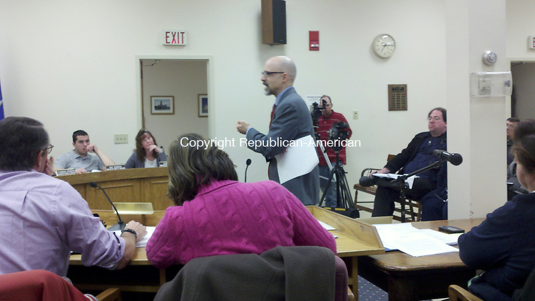 WINSTED, CT - Feb. 16, 2014 - 021614KM01 - Mark J. Sommaruga, attorney for the Winsted Board of Education, addresses the board last weeking regarding parents' complaints about the school district not meeting the needs of their children, whoare in special education. Kurt Moffett Republican-American