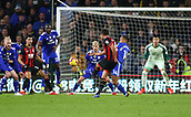 2nd February 2019, Cardiff City Stadium, Cardiff, Wales; EPL Premier League football, Cardiff City versus AFC Bournemouth; Andrew Surman of Bournemouth curls his shot which was tipped onto the crossbar by Neil Etheridge of Cardiff City keeping it at 1-0 in the first half