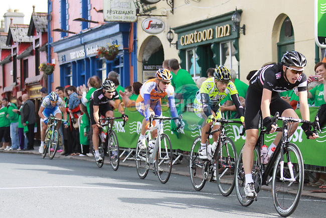 The breakaway group approach the sprint points marker in Rathdrum Co.Wicklow during Stage1 of the 2009 Tour of Ireland, running 196km from the Ritz-Carlton Hotel Powerscourt, Enniskerry to Waterford, Ireland. 21st August 2009.<br /> (Photo by Eoin Clarke/NEWSFILE)