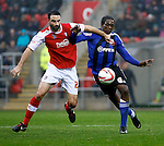 Rotherham United v Swindon Town.<br /> 12.10.2013<br /> Sky Bet League One<br /> Picture Shaun Flannery/Trevor Smith Photography<br /> Rotherham's Craig Morgan battles with Swindon's Nile Ranger.
