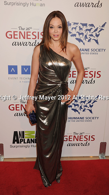 BEVERLY HILLS, CA - MARCH 24: Rose McGowan attends the 26th Genesis Awards at The Beverly Hilton Hotel on March 24, 2012 in Beverly Hills, California.
