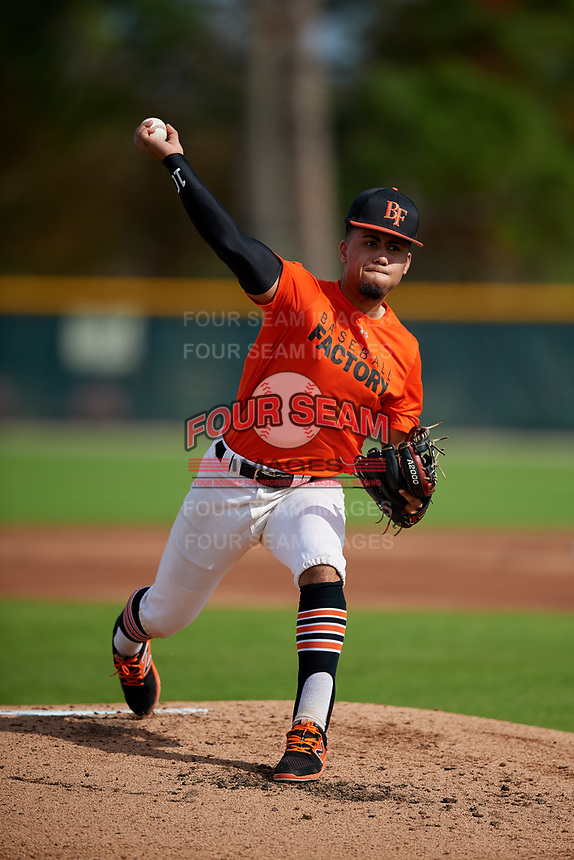 Bryson Mitchell (58) of Alexandria, Virginia during the Baseball Factory Pirate City Christmas Camp & Tournament on December 28, 2018 at Pirate City in Bradenton, Florida. (Mike Janes/Four Seam Images)