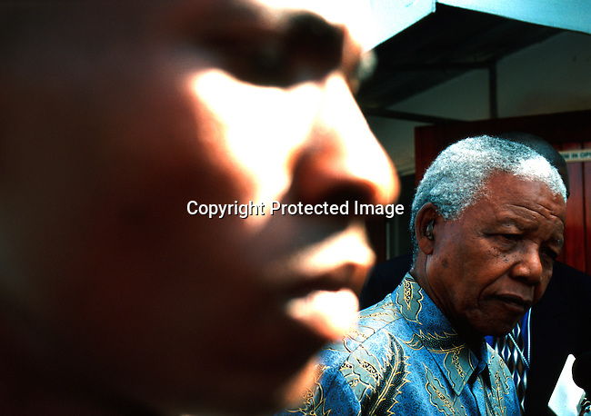 poelec990054 .Personality President Nelson Mandela, at the last rally before the election on June second 1999, in Soweto, South Africa. President Nelson Mandela retired after one term..©Per-Anders Pettersson/iAfrika Photos