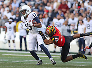College Park, MD - November 25, 2017: Penn State Nittany Lions wide receiver Saeed Blacknall (13) catches a pass during game between Penn St and Maryland at  Capital One Field at Maryland Stadium in College Park, MD.  (Photo by Elliott Brown/Media Images International)