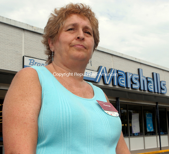 WATERTOWN, CT-15August 2006-081506TK01- Sue Elzenny, of Waterbury, works a 30 hour week at Marshall's in Watertown and lives with her mother. Elzenney was recently laid off from Watertown Kmart store. Tom Kabelka Republican-American (Sue Elzenny)