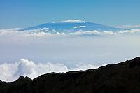 View of snow capped Mauna Loa on the Big Island from HALEAKALA NATIONAL PARK