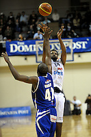 Giants import Darryl Dora shoots a three-pointer. NBL - Wellington Saints v Nelson Giants at TSB Bank Arena, Wellington, New Zealand on Thursday, 19 May 2011. Photo: Dave Lintott / lintottphoto.co.nz