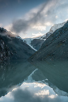 Sunrise over Ice Lake in Southern Alps with Shackleton and Whataroa Glaciers in background, alpine herbs in foreground, Westland National Park, West Coast, New Zealand