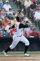 Richmond Flying Squirrels shortstop Ehire Adrianza #13 at bat during a game against the Trenton Thunder at The Diamond on May 27, 2012 in Richmond, Virginia. Richmond defeated Trenton by the score of 5-2. (Robert Gurganus/Four Seam Images)