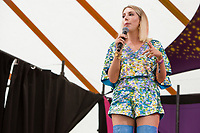 Comedian Katherine Ryan performs on day 2 of the 2019 Latitude Festival at Henham Park, Suffolk. 20th July 2019<br /> <br /> Photo by Stuart Hogben