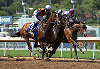 ARCADIA, CA APRIL 8:  #3 Paradise Woods ridden by Flavien Prat first time past the grandstand  of the Santa Anita Oaks (Grade 1) on April 8, 2017 at Santa Anita Park in Arcadia, CA (Photo by Casey Phillips/Eclipse Sportswire/Getty Images)