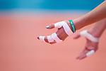05.10.2019, Halle Berg Fidel, Muenster<br />Volleyball, Bundesliga Frauen, Normalrunde, USC MŸnster / Muenster vs. Allianz MTV Stuttgart<br /><br />Feature Volleyball, Hand, Tape, Armband One Team<br /><br />  Foto © nordphoto / Kurth
