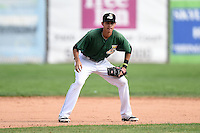 Clinton LumberKings shortstop Luis Caballero (10) during a game against the Beloit Snappers on August 17, 2014 at Ashford University Field in Clinton, Iowa.  Clinton defeated Beloit 4-3.  (Mike Janes/Four Seam Images)