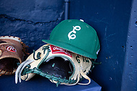 An Eastern Michigan Eagles hat on May 8, 2019 at Ray Fisher Stadium in Ann Arbor, Michigan. Michigan defeated Eastern Michigan 10-1. (Andrew Woolley/Four Seam Images)