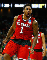 PITTSBURGH, PA - MARCH 21:  Trevor Lacey #1 of the North Carolina State Wolfpack celebrates after hitting a three pointer at the end of the first half against the Villanova Wildcats during the third round of the 2015 NCAA Men's Basketball Tournament at Consol Energy Center on March 21, 2015 in Pittsburgh, Pennsylvania.  (Photo by Jared Wickerham/Getty Images)