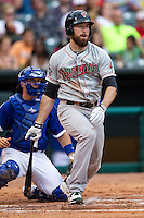 Nashville Sounds first baseman Ike Davis (21) follows through on his swing during the Pacific Coast League baseball game against the Oklahoma City Dodgers on June 12, 2015 at Chickasaw Bricktown Ballpark in Oklahoma City, Oklahoma. The Dodgers defeated the Sounds 11-7. (Andrew Woolley/Four Seam Images)
