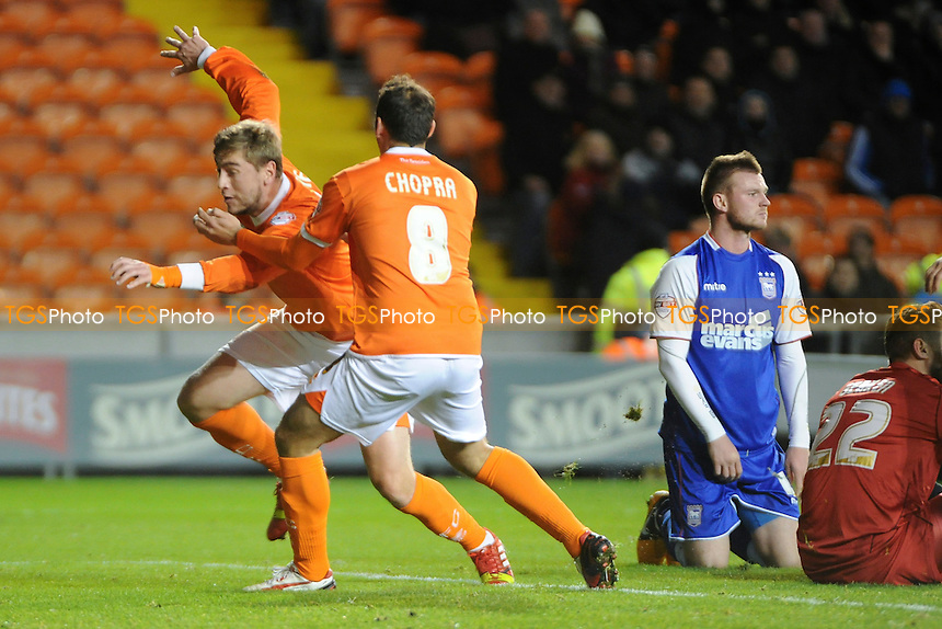 Steven Davies of Blackpool celebrates the equaliser with Michael Chopra of Blackpool - Blackpool vs Ipswich Town - Sky Bet Championship Football at Bloomfield Road, Blackpool, Lancashire - 09/11/13 - MANDATORY CREDIT: Greig Bertram/TGSPHOTO - Self billing applies where appropriate - 0845 094 6026 - contact@tgsphoto.co.uk - NO UNPAID USE