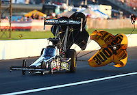 Sep 3, 2016; Clermont, IN, USA; NHRA top fuel driver Tripp Tatum during qualifying for the US Nationals at Lucas Oil Raceway. Mandatory Credit: Mark J. Rebilas-USA TODAY Sports