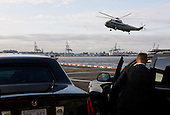 Marine One departs the Manhattan Heliport following an appearance by President Barack Obama and First Lady Michelle Obama at the Commemoration Ceremony at the National September 11 Memorial at the World Trade Center Site in New York, New York on September 11, 2011. The President and First Lady are also visiting the Pentagon and the crash site of Flight 93 in Shanksville Pennsylvania in a series of events to commemorate the 10th anniversary of the attacks. .Credit: Kristoffer Tripplaar / Pool via CNP